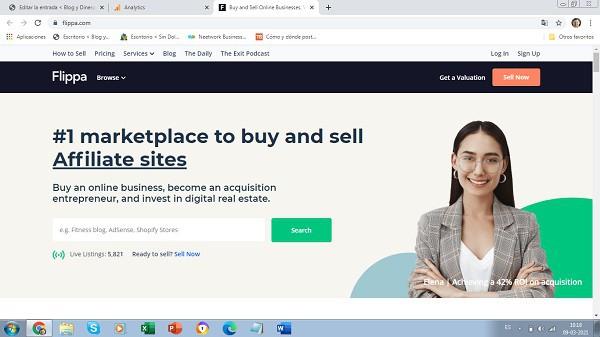 vender paginas web en Flippa